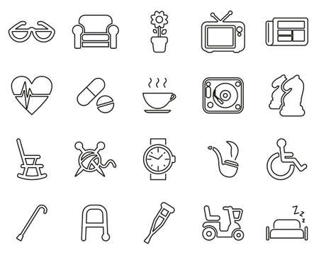 Senior People Icons Black & White Thin Line Set Big Ilustração