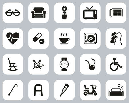 Senior People Icons Black & White Flat Design Set Big