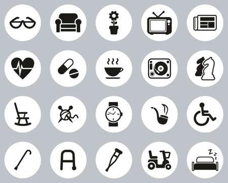 Senior People Icons Black & White Flat Design Circle Set Big