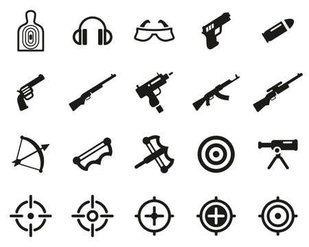 Shooting Range Icons Black & White Set Big