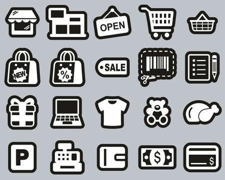 Shopping Mall Or Supermarket Icons White On Black Sticker Set Big Illusztráció