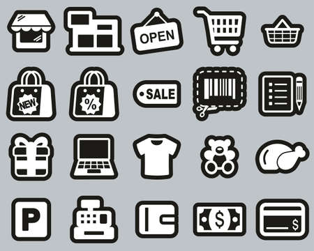 Shopping Mall Or Supermarket Icons White On Black Sticker Set Big Illustration