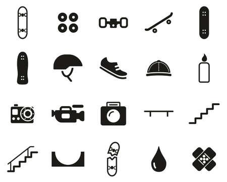Skateboarding Extreme Sport & Equipment Icons Black & White Set Big Illusztráció