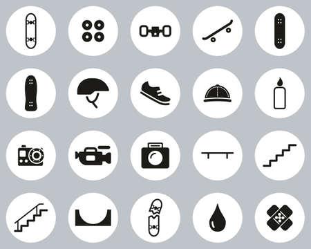 Skateboarding Extreme Sport & Equipment Icons Black & White Flat Design Circle Set Big