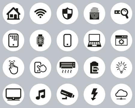 Smart Home Or Smart House Icons Black & White Flat Design Circle Set Big