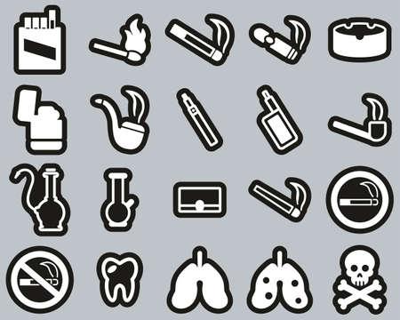 Smoking Or Smoking Addiction Icons White On Black Sticker Set Big