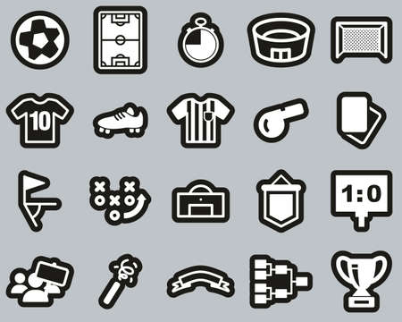 Soccer Or Football Icons White On Black Sticker Set Big 向量圖像