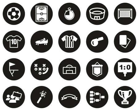 Soccer Or Football Icons White On Black Flat Design Circle Set Big