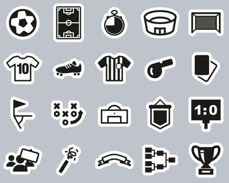 Soccer Or Football Icons Black & White Sticker Set Big 向量圖像