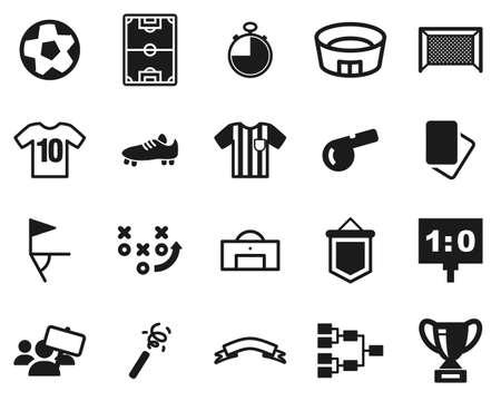 Soccer Or Football Icons Black & White Set Big