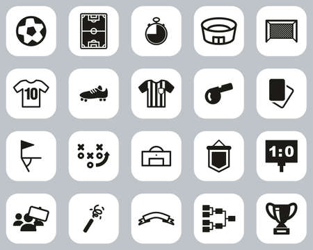Soccer Or Football Icons Black & White Flat Design Set Big 向量圖像