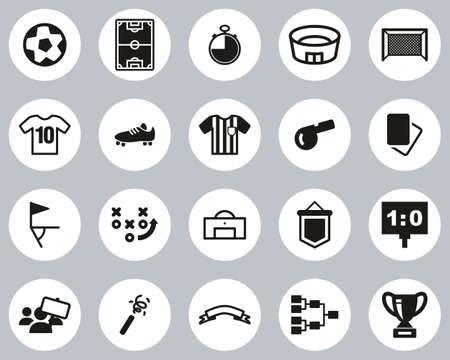 Soccer Or Football Icons Black & White Flat Design Circle Set Big
