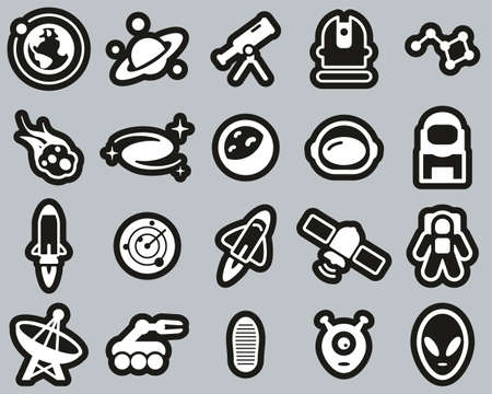 Space Or Space Mission Icons White On Black Sticker Set Big
