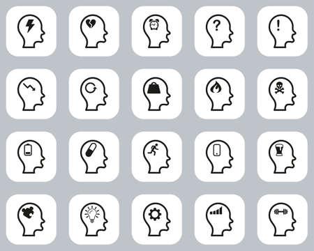 Stress & Pressure Icons Black & White Flat Design Set Big