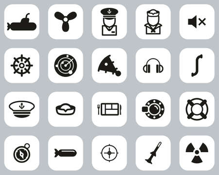 Submarine Icons Black & White Flat Design Set Big