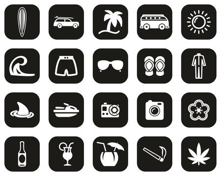 Surfing Sport & Lifestyle Icons White On Black Flat Design Set Big