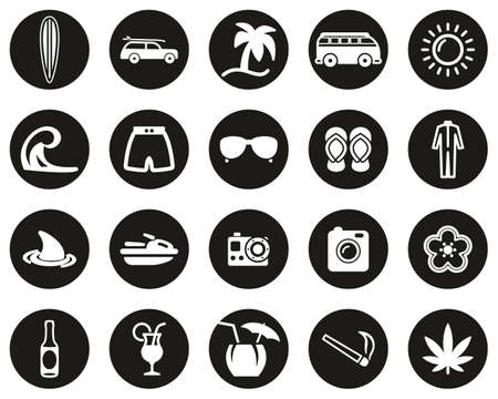 Surfing Sport & Lifestyle Icons White On Black Flat Design Circle Set Big
