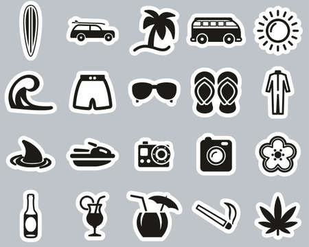 Surfing Sport & Lifestyle Icons Black & White Sticker Set Big