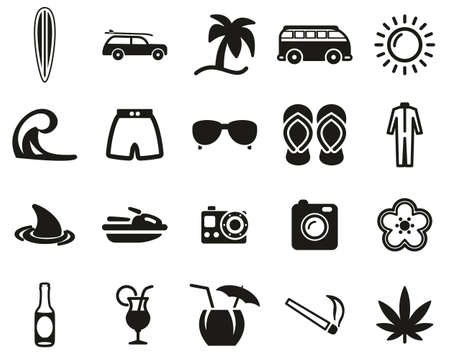 Surfing Sport & Lifestyle Icons Black & White Set Big Illustration