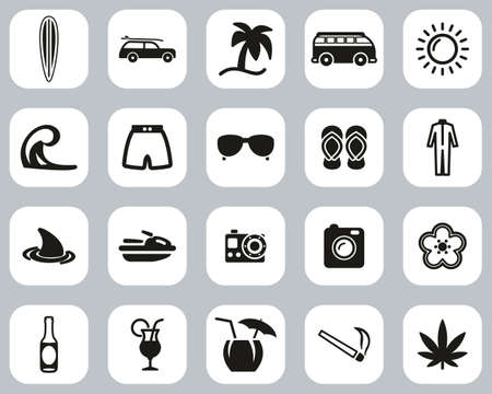 Surfing Sport & Lifestyle Icons Black & White Flat Design Set Big Illustration
