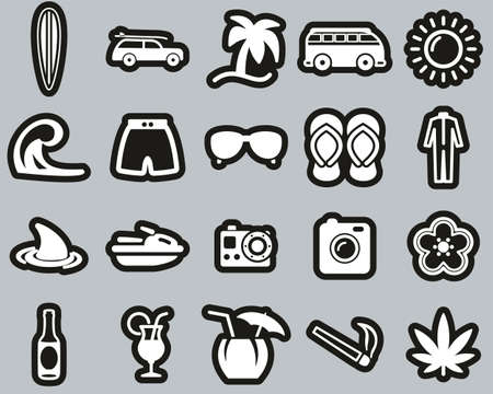 Surfing Sport & Lifestyle Icons White On Black Sticker Set Big