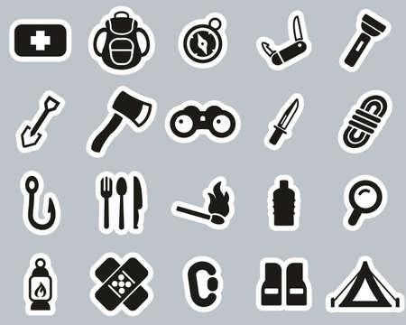 Survival Kit Icon Black & White Sticker Set Big