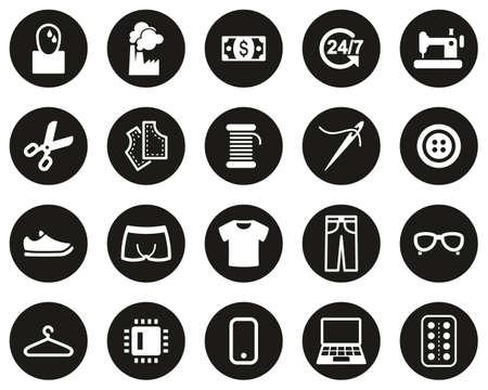 Sweatshop Factory Icons White On Black Flat Design Circle Set Big