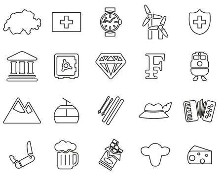 Switzerland Country & Culture Icons Black & White Thin Line Set Big Ilustração