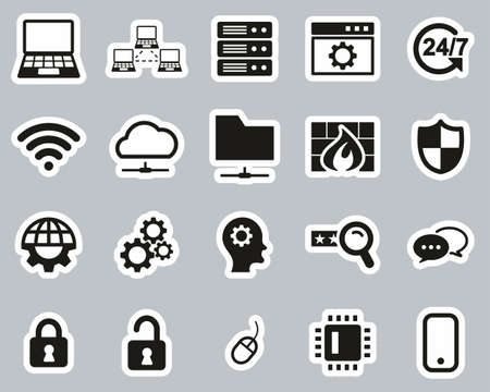 System Administrator Icons Black & White Sticker Set Big
