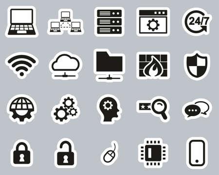 System Administrator Icons Black & White Sticker Set Big