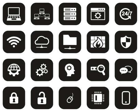 System Administrator Icons White On Black Flat Design Set Big Vecteurs