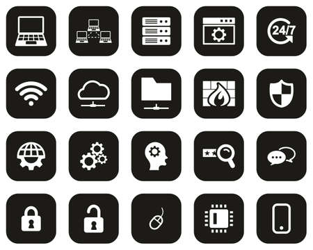 System Administrator Icons White On Black Flat Design Set Big