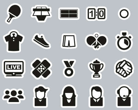 Table Tennis Sport & Equipment Icons Black & White Sticker Set Big