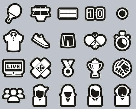 Table Tennis Sport & Equipment Icons White On Black Sticker Set Big