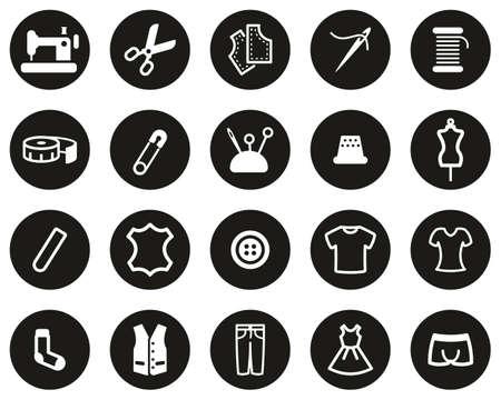 Tailor Shop Icons White On Black Flat Design Circle Set Big Vektorové ilustrace