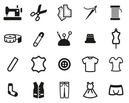 Tailor Shop Icons Black & White Set Big Vektorové ilustrace