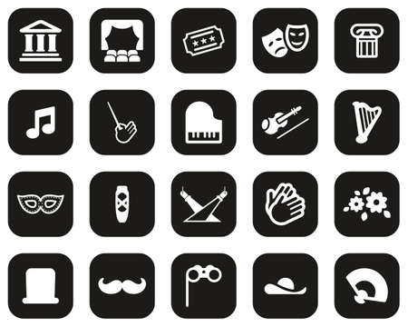 Theater Or Opera Icons White On Black Flat Design Set Big Archivio Fotografico - 140873499