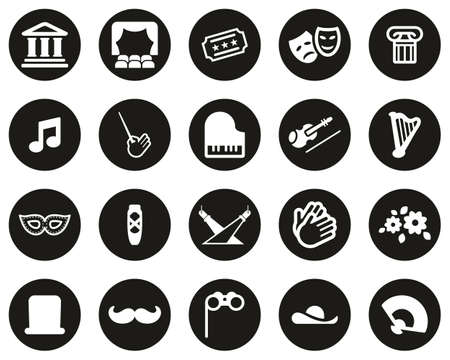 Theater Or Opera Icons White On Black Flat Design Circle Set Big Vettoriali