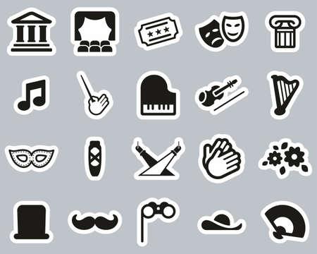 Theater Or Opera Icons Black & White Sticker Set Big Archivio Fotografico - 140873503