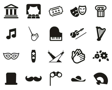 Theater Or Opera Icons Black & White Set Big