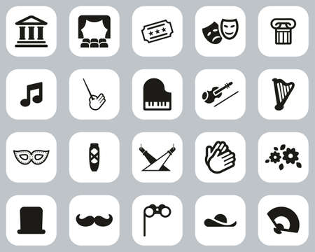 Theater Or Opera Icons Black & White Flat Design Set Big Vettoriali