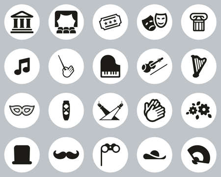 Theater Or Opera Icons Black & White Flat Design Circle Set Big