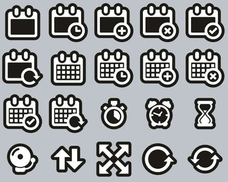 Time Or Schedule Icons White On Black Sticker Set Big