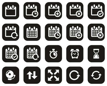 Time Or Schedule Icons White On Black Flat Design Set Big