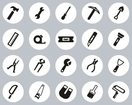 Tools Icons Black & White Flat Design Circle Set Big