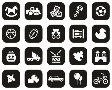 Toys Icons White On Black Flat Design Set Big Vecteurs