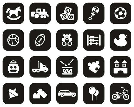 Toys Icons White On Black Flat Design Set Big