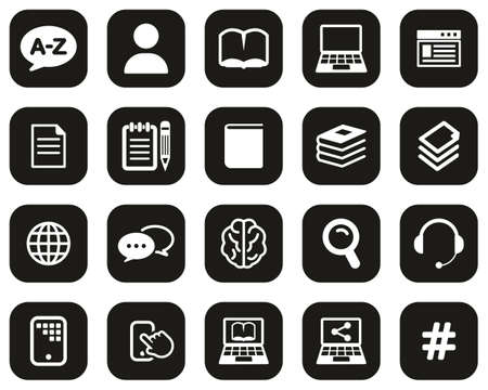 Translation Or Translator Icons White On Black Flat Design Set Big Stock Illustratie