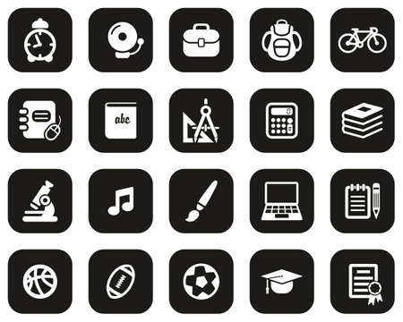 University Or College Icons White On Black Flat Design Set Big