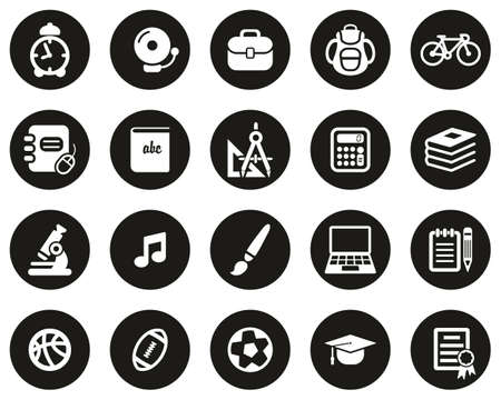 University Or College Icons White On Black Flat Design Circle Set Big